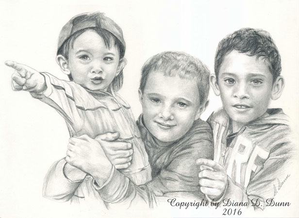 """Graphite Portrait of Two Brothers and Their Cousin."""
